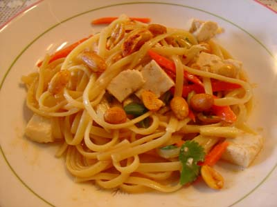 Peanut-Ginger Sauce on wheat noodles, tofu, scallions, carrots, cilantro, and more ginger and spicy peanuts