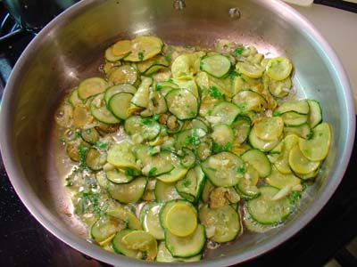 Saute Pan with zucchini and yellow squash