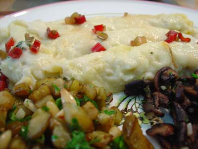 Cannelloni with Swiss Chard, Eggplant with Pine Nuts, Mushrooms