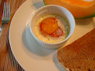 Baked Egg, Toast, and Melon