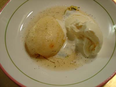 Roasted Pear with vanilla ice cream