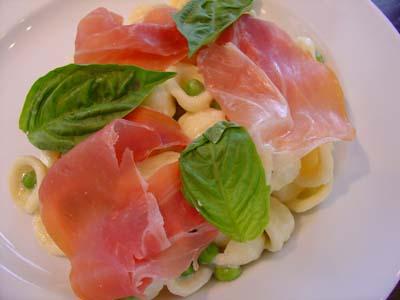 Orrechiette, prosciutto, and peas
